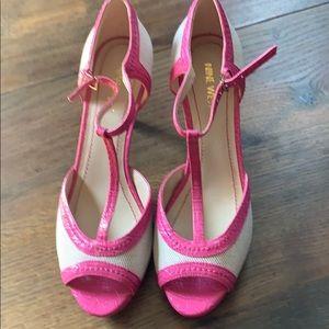 Nine West Pink and Cream Heels